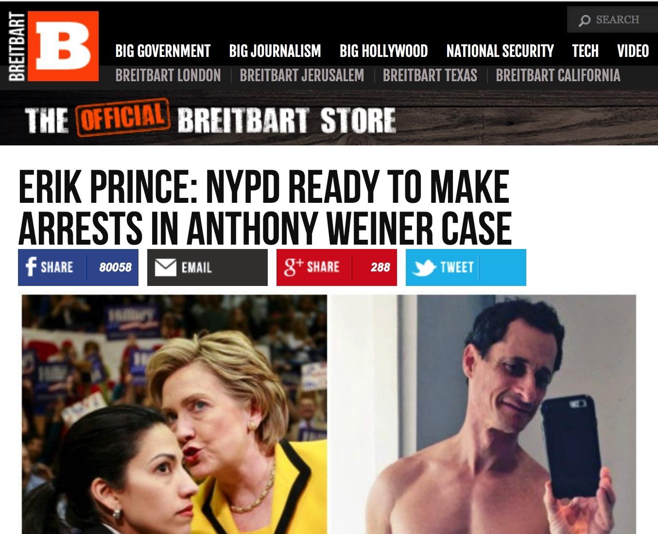Image result for Anthony Weiner, Erik Prince