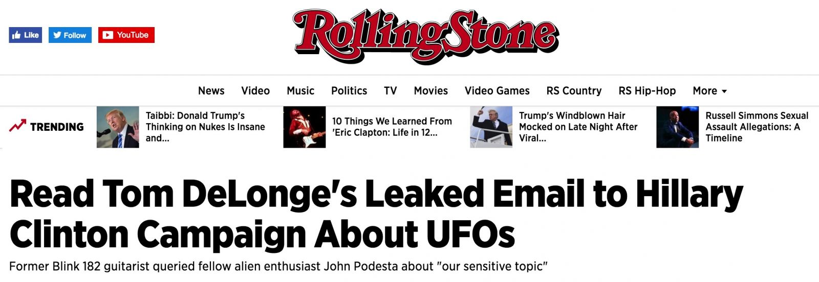 Tom DeLonge Group Stunningly Debunked: Curtains for Partial ...